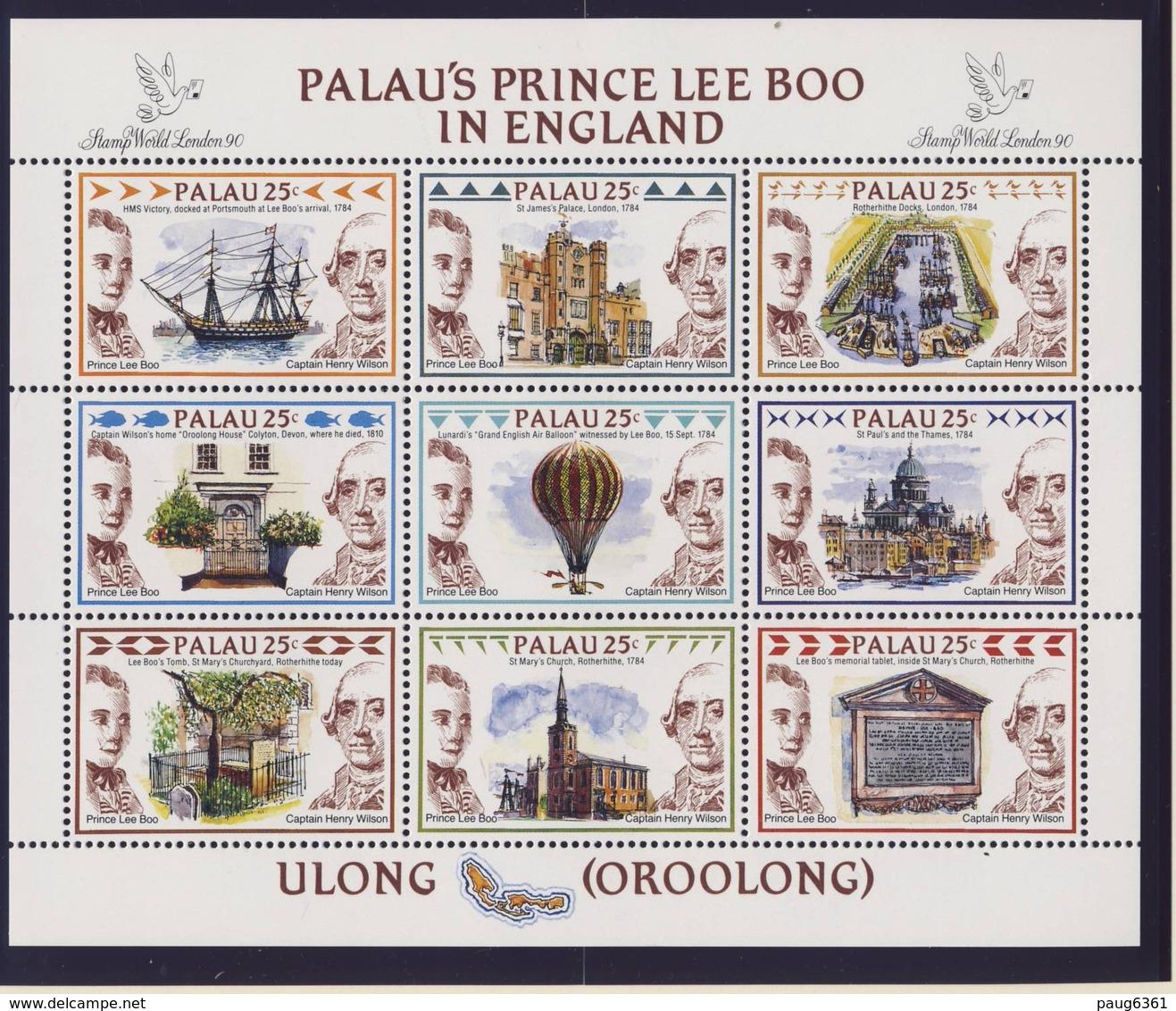 PALAU 1990 BLOC FPRINCE LEE BOO YVERT N°311/19  NEUF MNH** - Palau