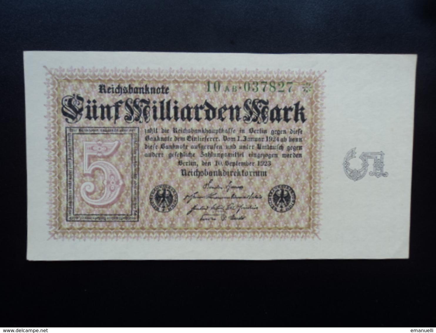 ALLEMAGNE : 5 MILLIARDEN MARK   10.9.1923     P 115b     B++ * - 5 Milliarden Mark