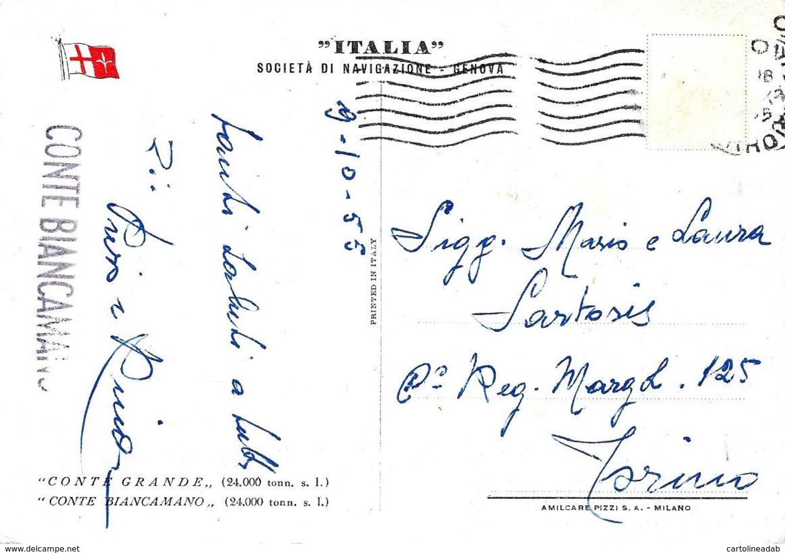 [DC7852] CPA - ITALIA - SOCIETA' DI NAVIGAZIONE - GENOVA - Viaggiata 1955 - Old Postcard - Barche