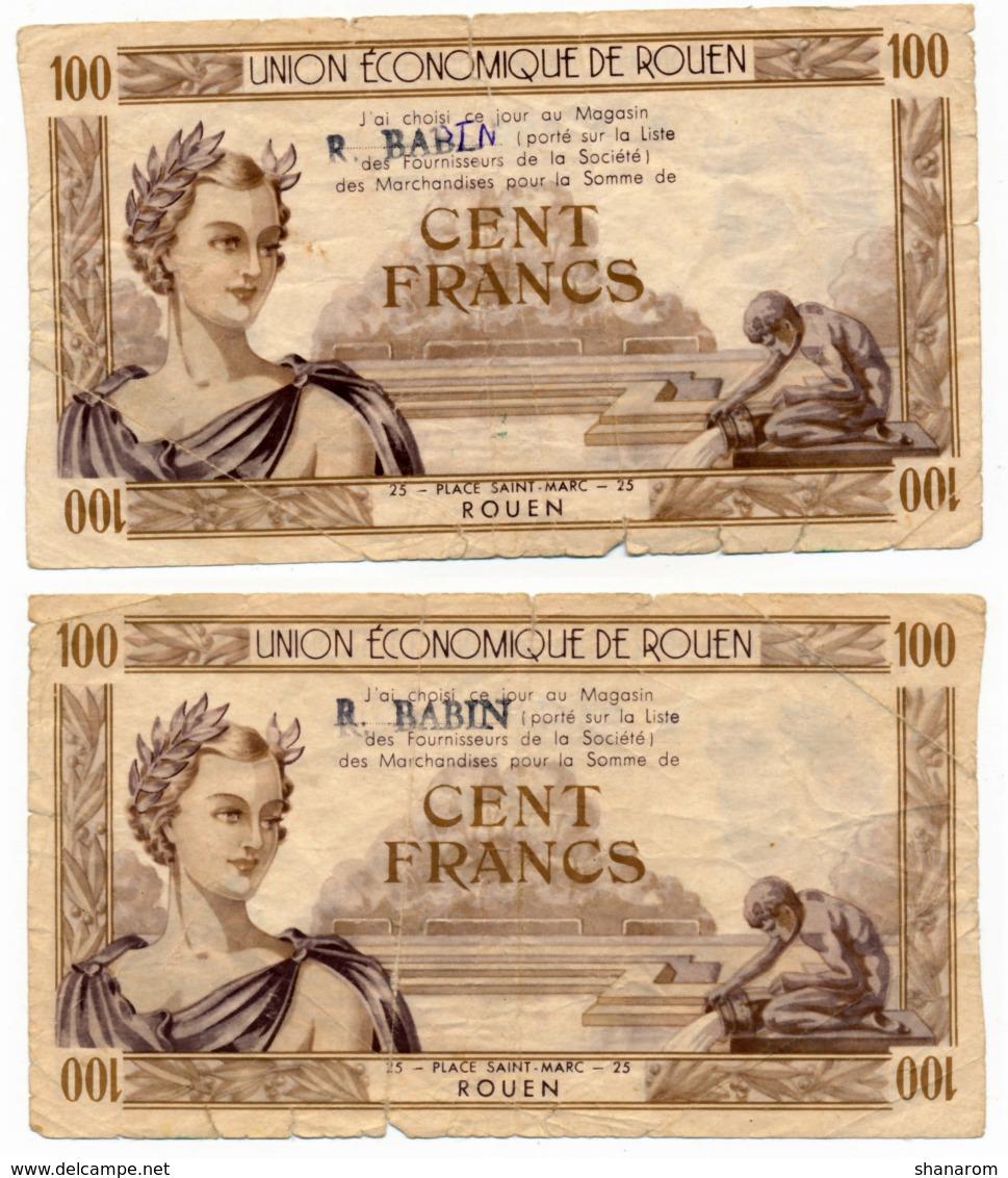 ROUEN // UNION ECONOMIQUE // 100 Francs - Bons & Nécessité