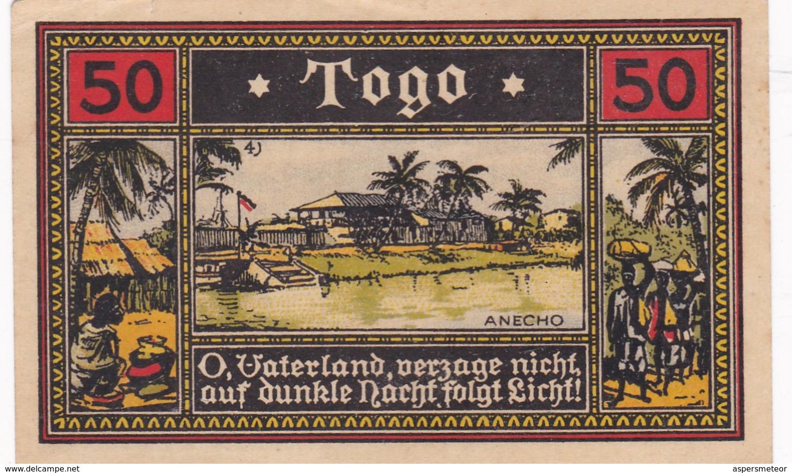 NOTGELD TOGO BILLETE SERIE I 50 PFG CIRCA 1922- BLEUP - Togo