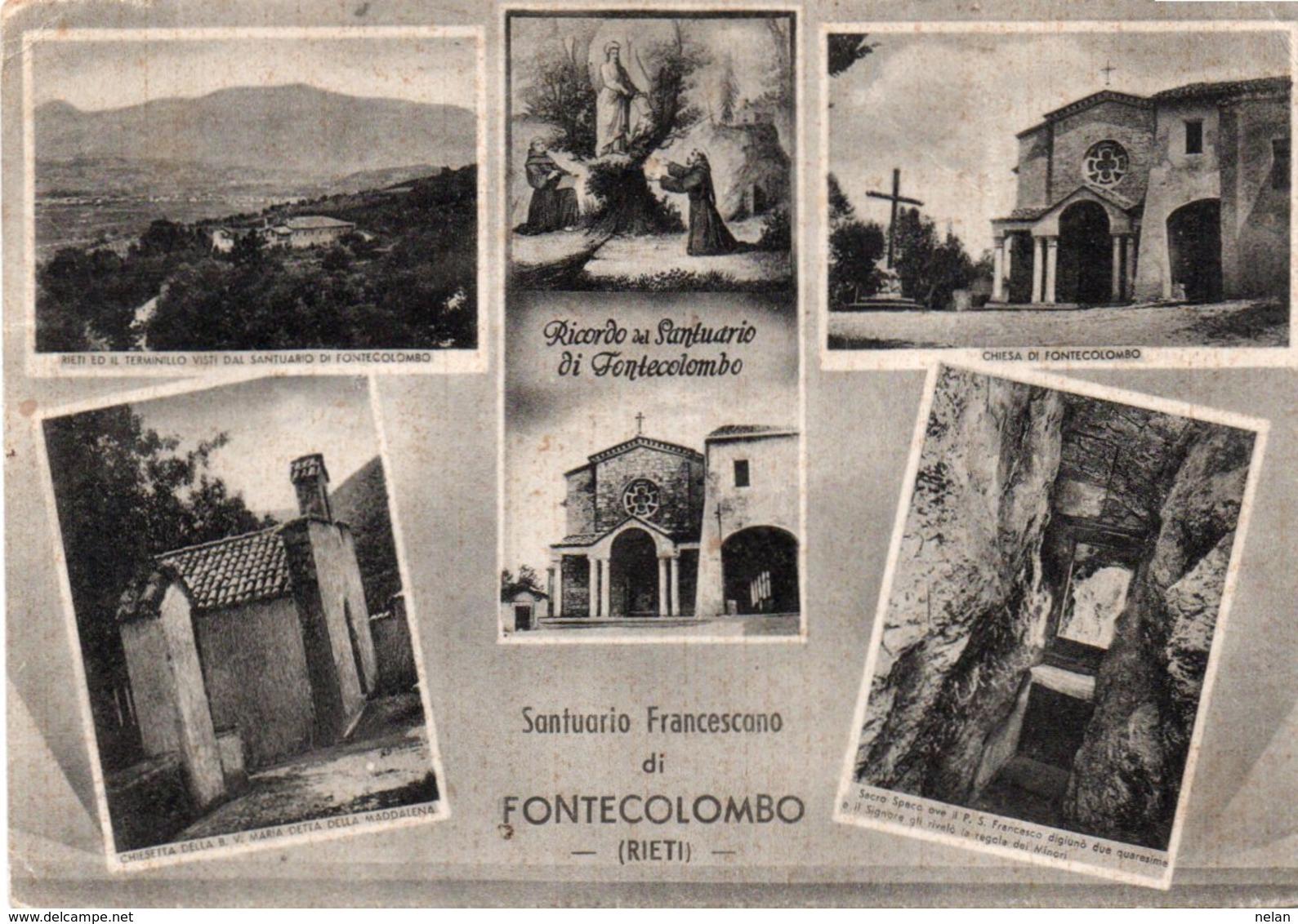 FONTECOLOMBO-SANTUARIO FRANCESCANO- VIAGGIATA 1953  F.G - Rieti