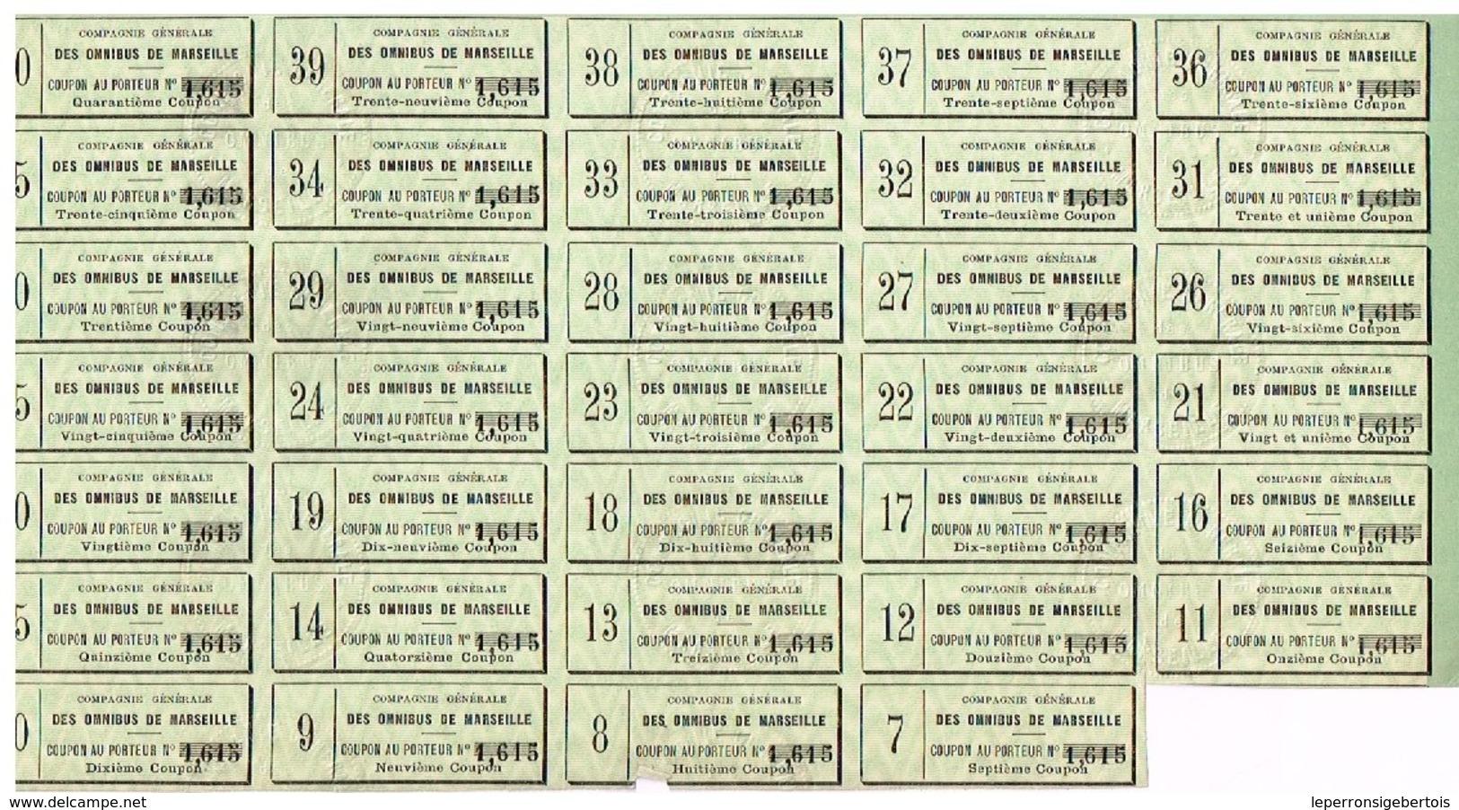 Ancienne Action - Compagnie Générale Des Omnibus De Marseille - Titre Délivré En 1884 - N°1615 - Chemin De Fer & Tramway