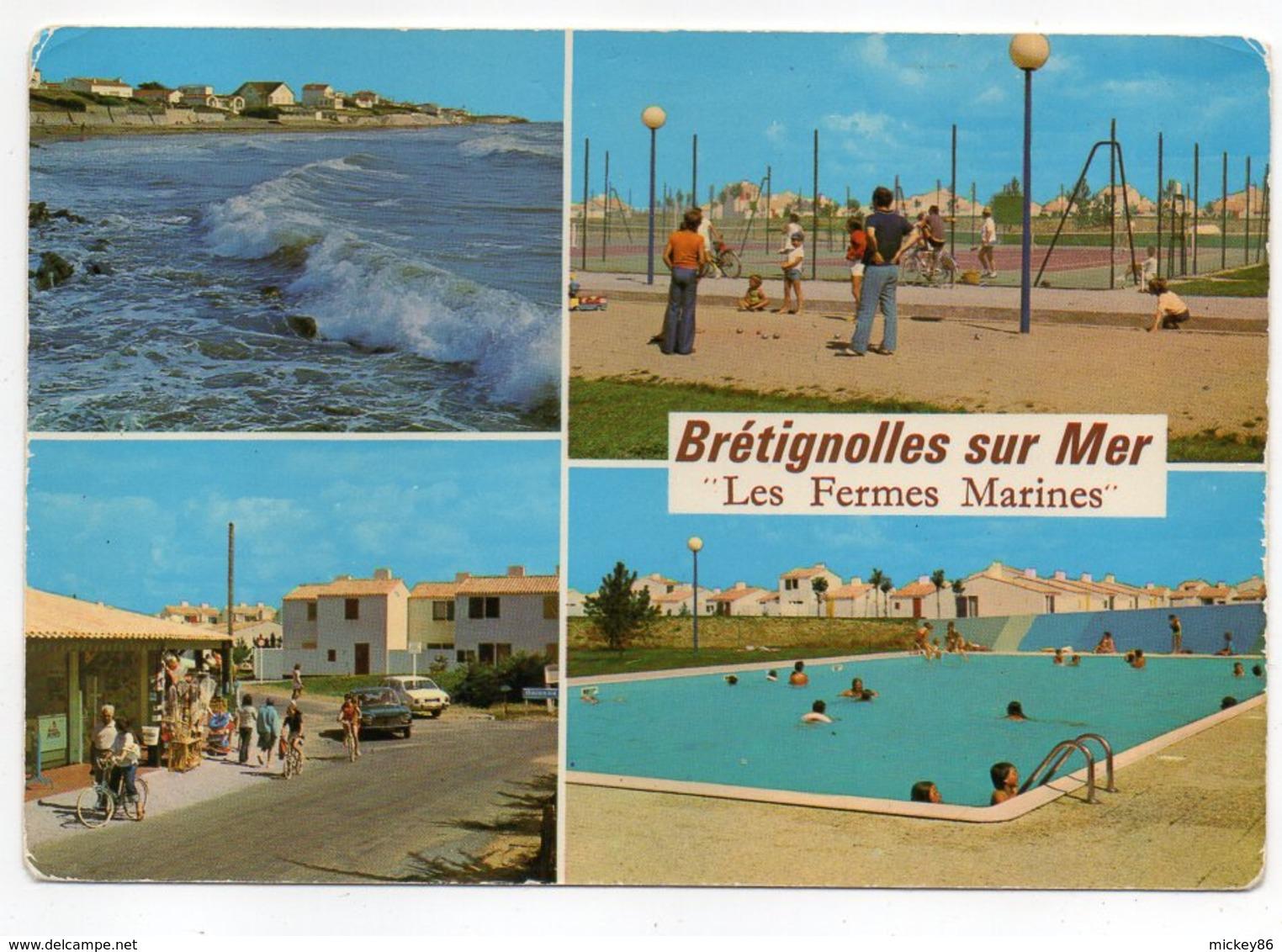 BRETIGNOLLES SUR MER --1985--Les Fermes Marines--Multivues (mer,pétanque,tennis,vélo,piscine)-timbre,cachet - Bretignolles Sur Mer