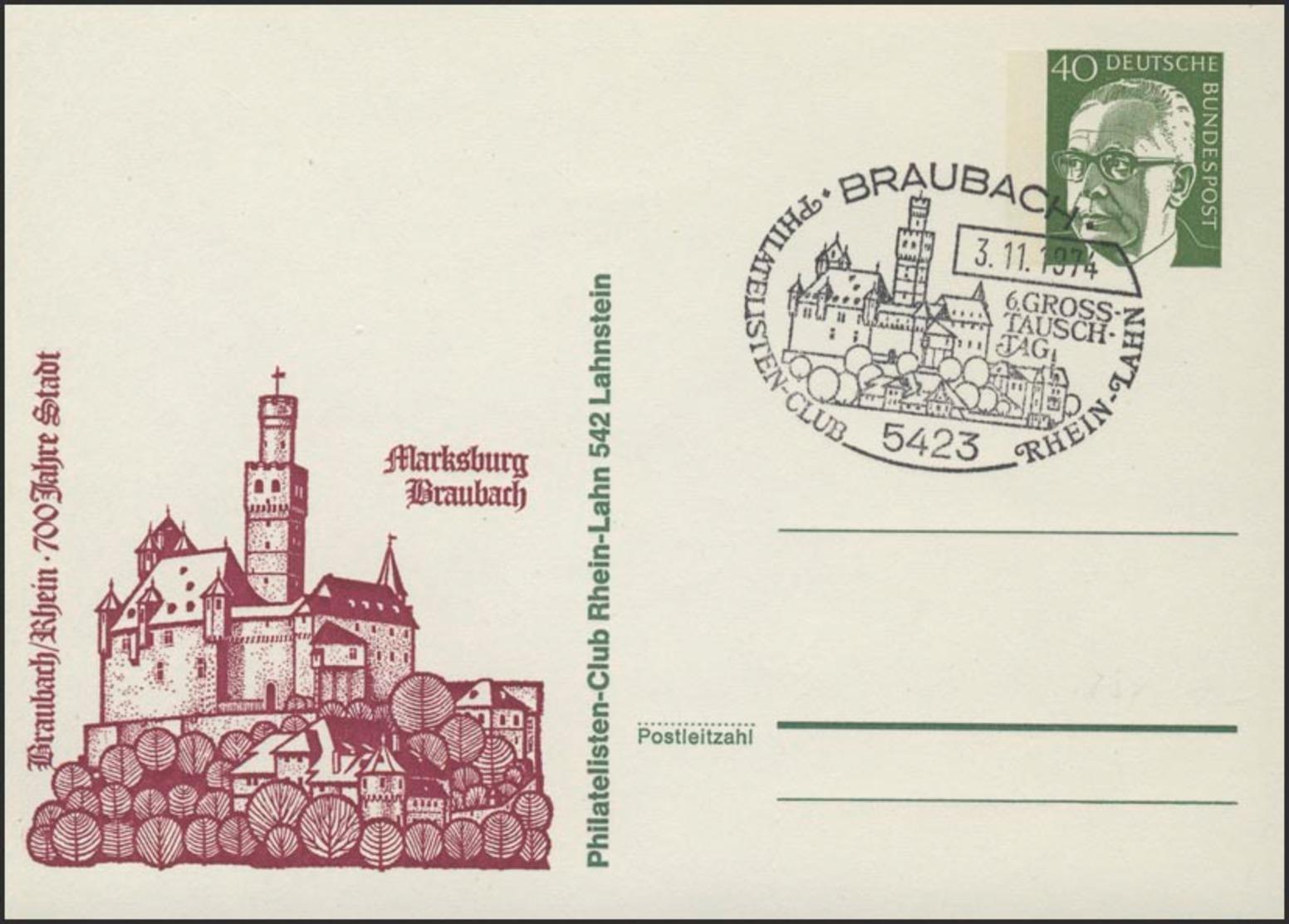Pk 40 Pf Heinemann/grün Braubach/Rhein Marksburg SSt - [7] República Federal