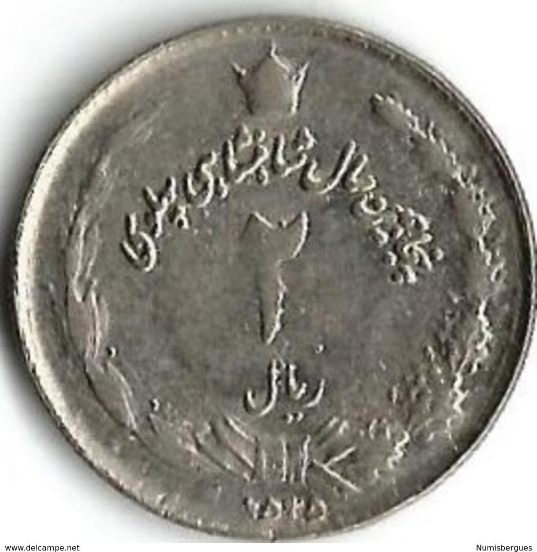1 Pièce De Monnaie 2 Rials 1976 - Iran
