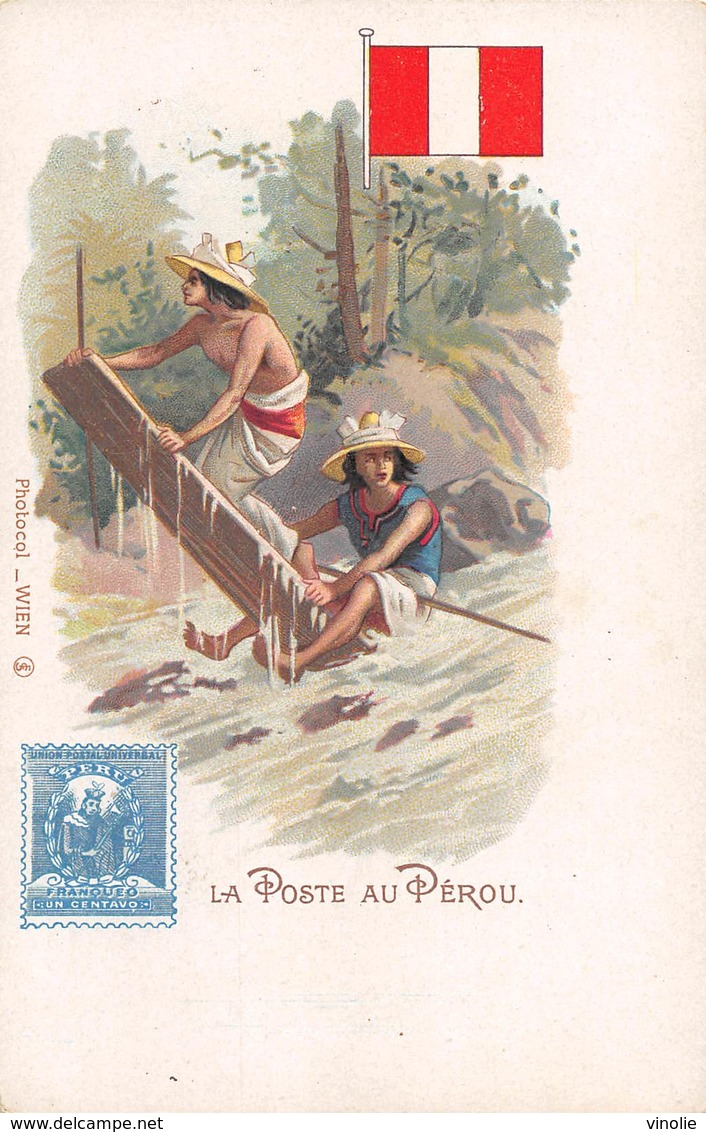 D-18-3220 : HISTOIRE DE LA POSTE. TIMBRE POSTE. FACTEUR. AU PEROU. - Peru