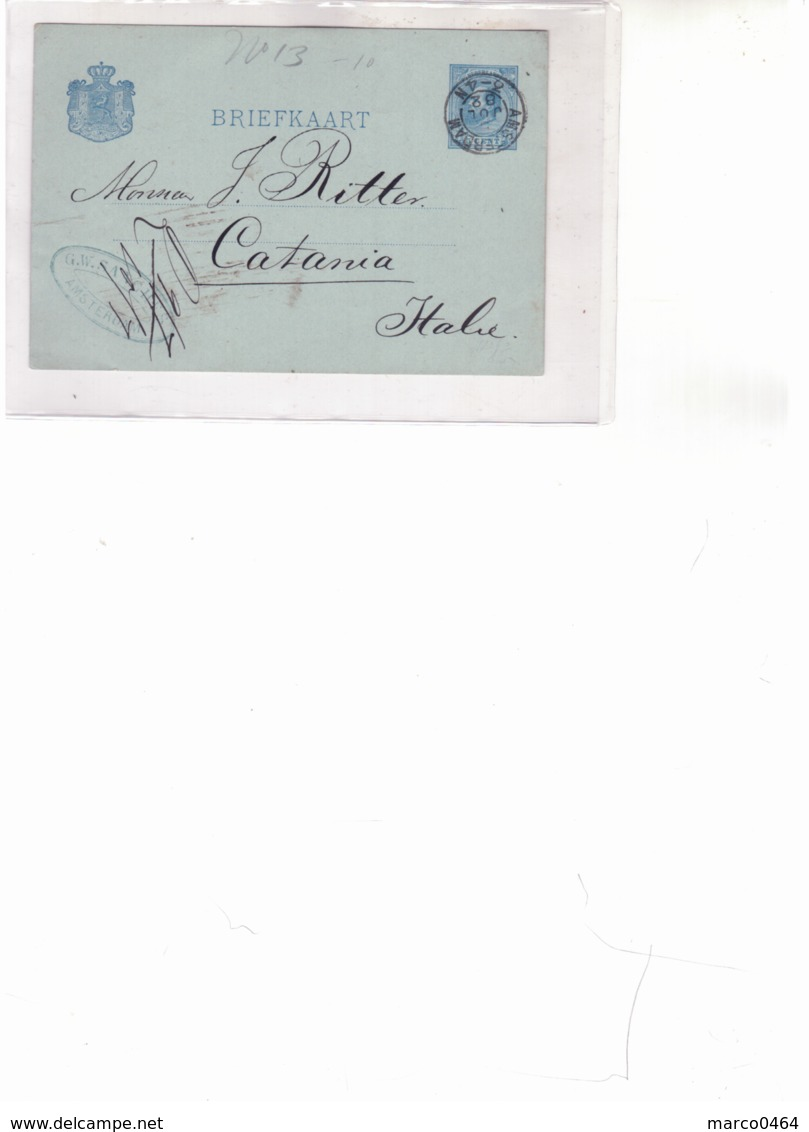 Briefkaart- From Amsterdam To Catania  H729 - Periode 1891-1948 (Wilhelmina)