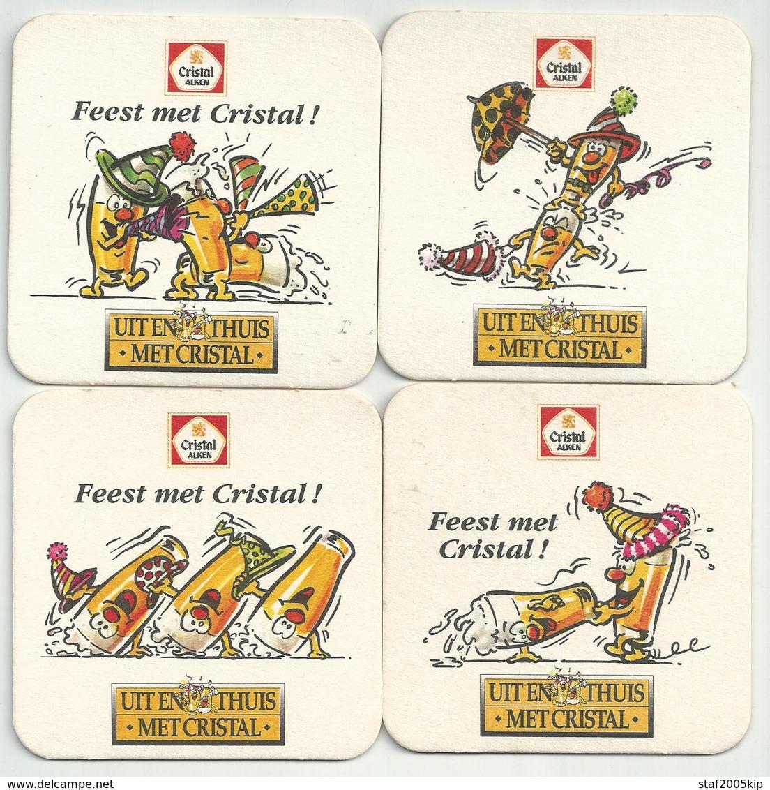 Bierviltjes - Cristal ALKEN - Feest Met Cristal - (4 Stuks) - Sous-bocks