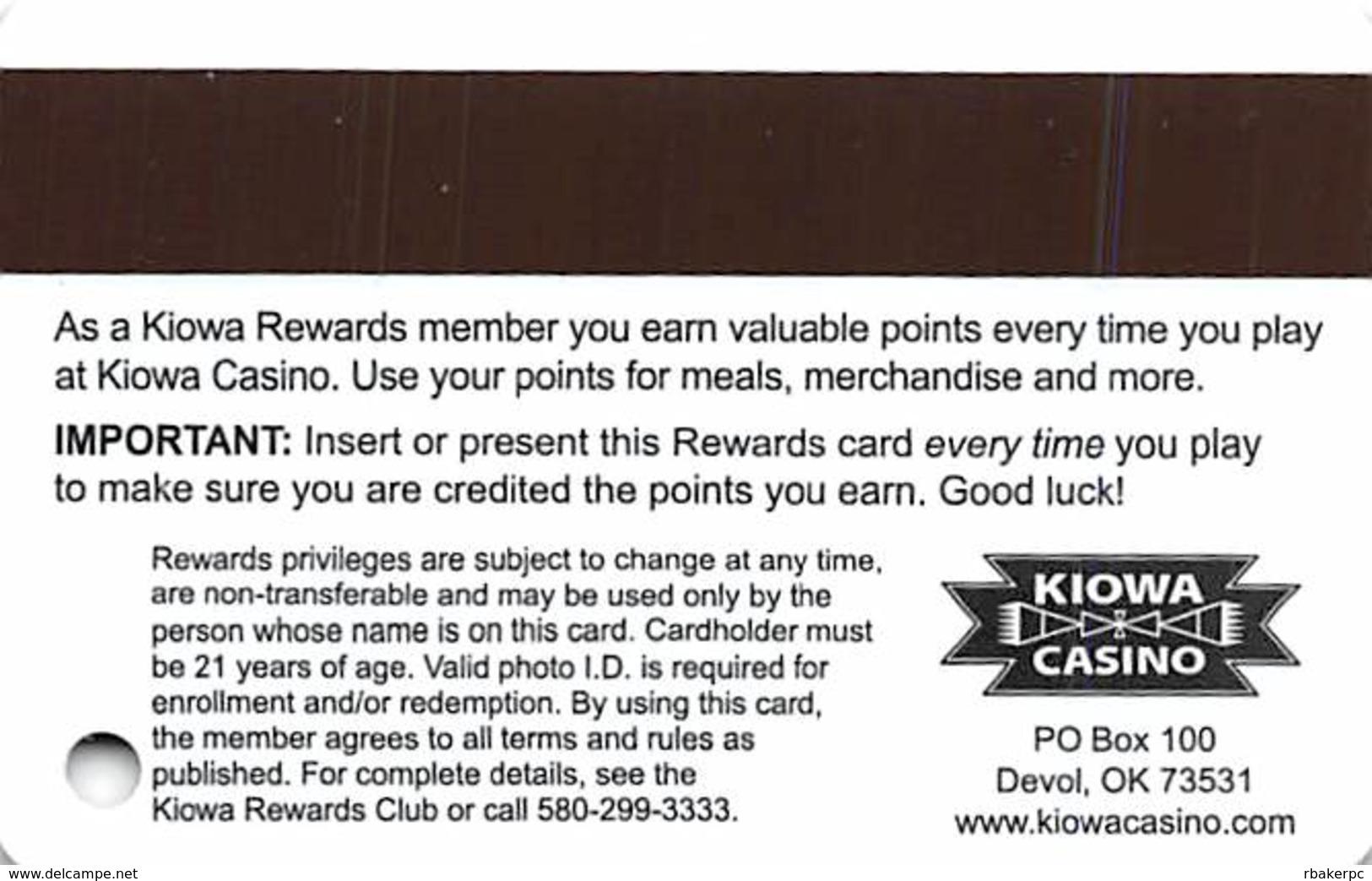 Kiowa Casino - Devol, OK - BLANK Slot Card - Casino Cards