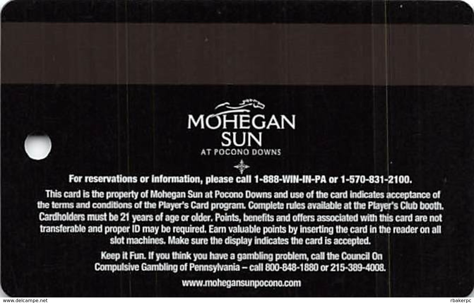 Mohegan Sun Casino At Pocono Downs - Wilks-Barre, PA USA - Hard To Find Sagamore Club Slot Card - Casino Cards