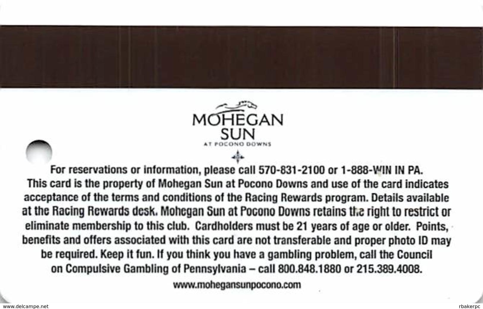 Mohegan Sun Casino At Pocono Downs - Wilks-Barre, PA USA - Racing Rewards Slot Card - Casino Cards