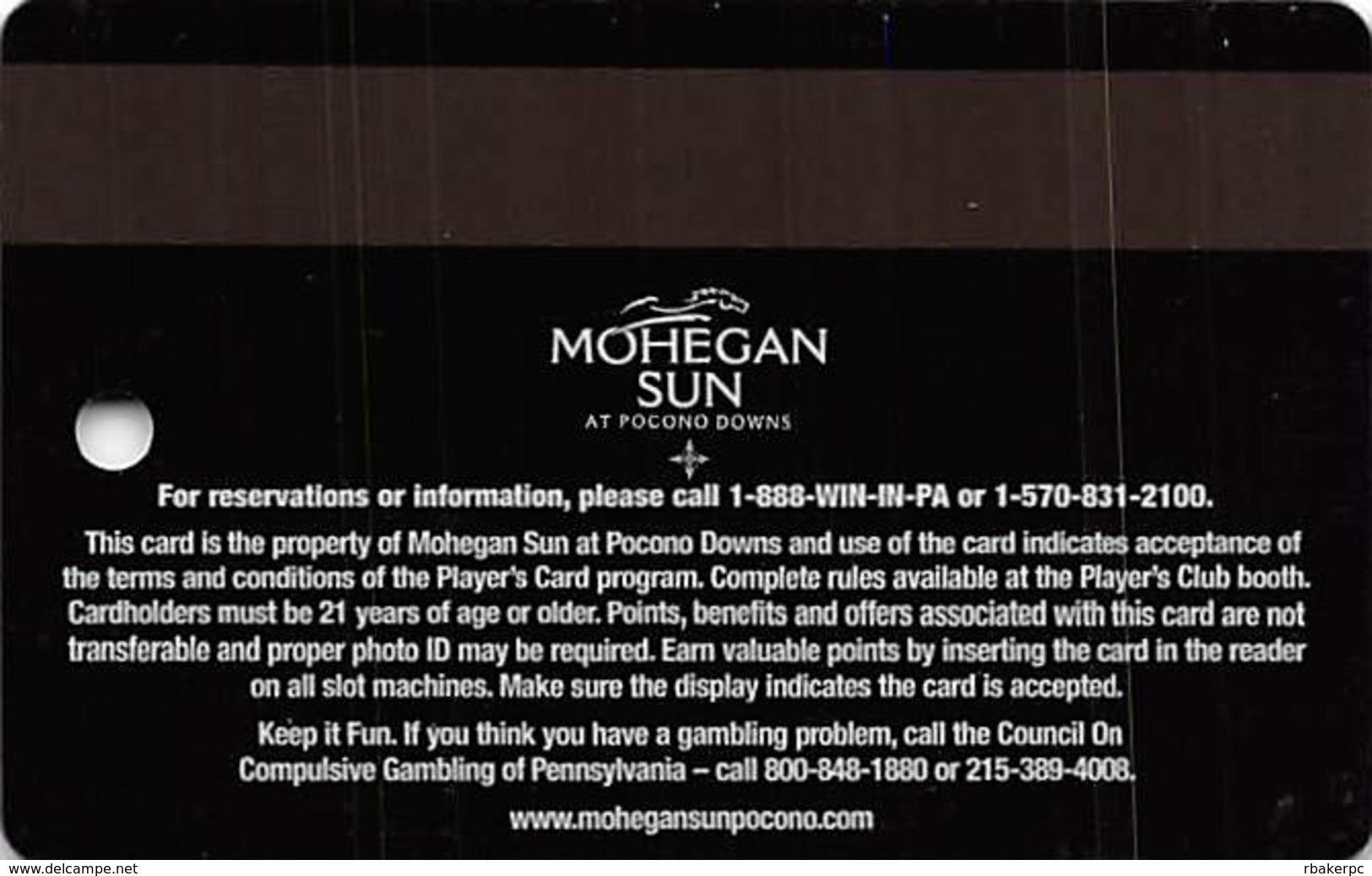 Mohegan Sun Casino At Pocono Downs - Wilks-Barre, PA USA - Elite Slot Card - Casino Cards