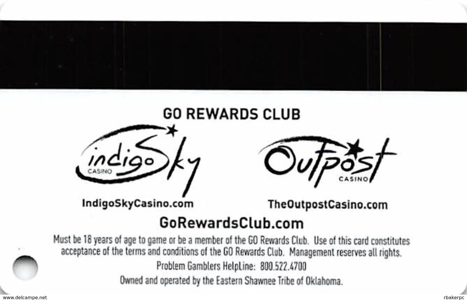 Indigo Sky & Outpost Casinos OK GoRewards Slot Card - Small Insert Arrows - Casino Cards