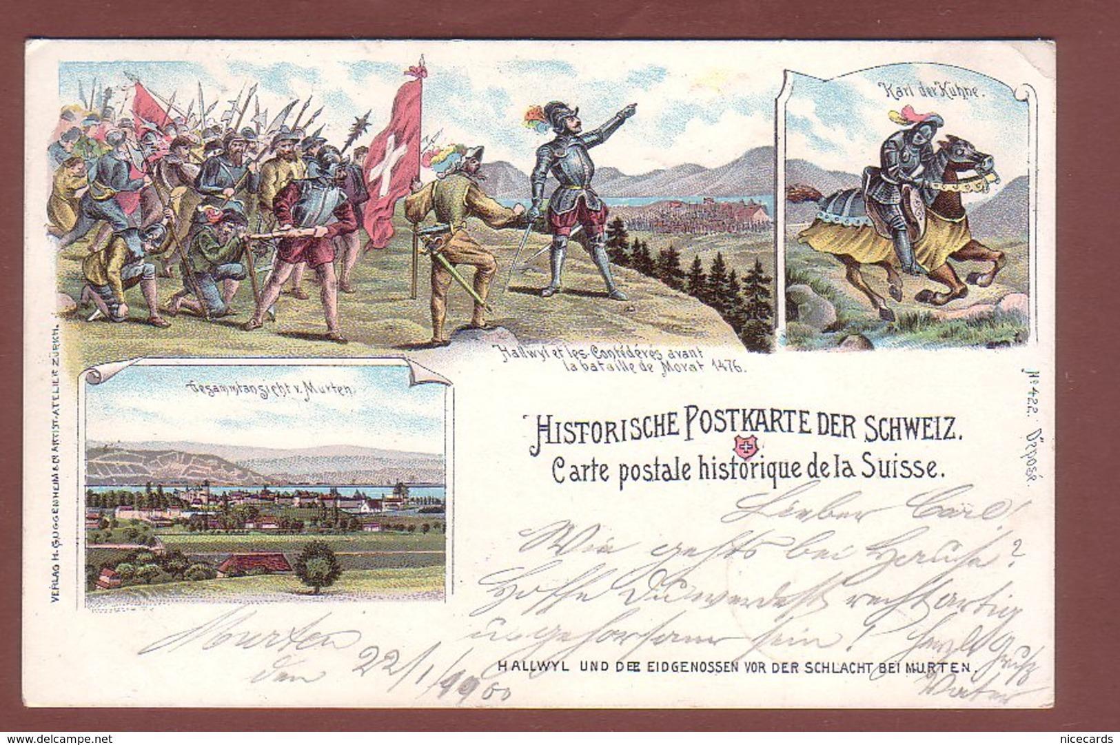 Fribourg - Histoire SUISSE - Hallwyl - Bataille De MORAT - Oblitération Linéaire - 1900 // Petit Pli D'angle // - FR Fribourg