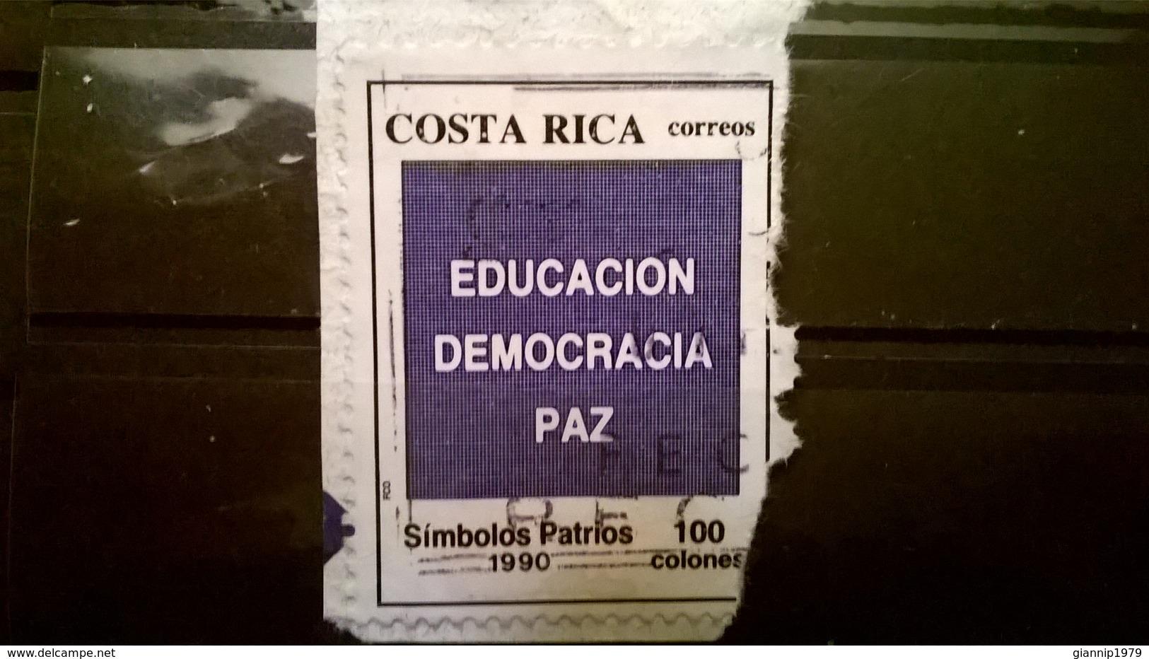 FRANCOBOLLI STAMPS COSTA RICA 1990 SERIE PATRIOTIC SYMBOLS SIMBOLI PATRIOTTICI SU FRAMMENTO FRANGMENT - Costa Rica