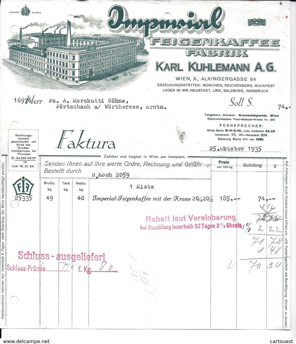 WIEN,1935 IMPERIAL FEIGENKAFFEE FABRIK  - KARL KUHLEMANN  Invoice Faktura - Austria Wien - Autriche