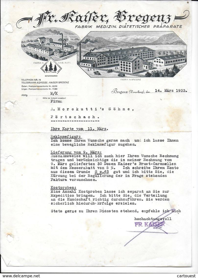 BREGENZ,1933 FR. KAISER BREGENZ - Fabrik Medicin Diätetischer Präparate  Invoice Faktura - Austria BREGENZ - Autriche