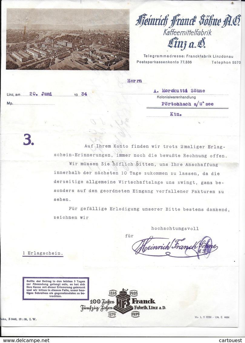 LINZ,1934 HEINRICH FRANCK SÖHNE A.G. - Kaffemittelfabrik LINZ A.D.  Invoice Faktura - Austria LINZ - Autriche