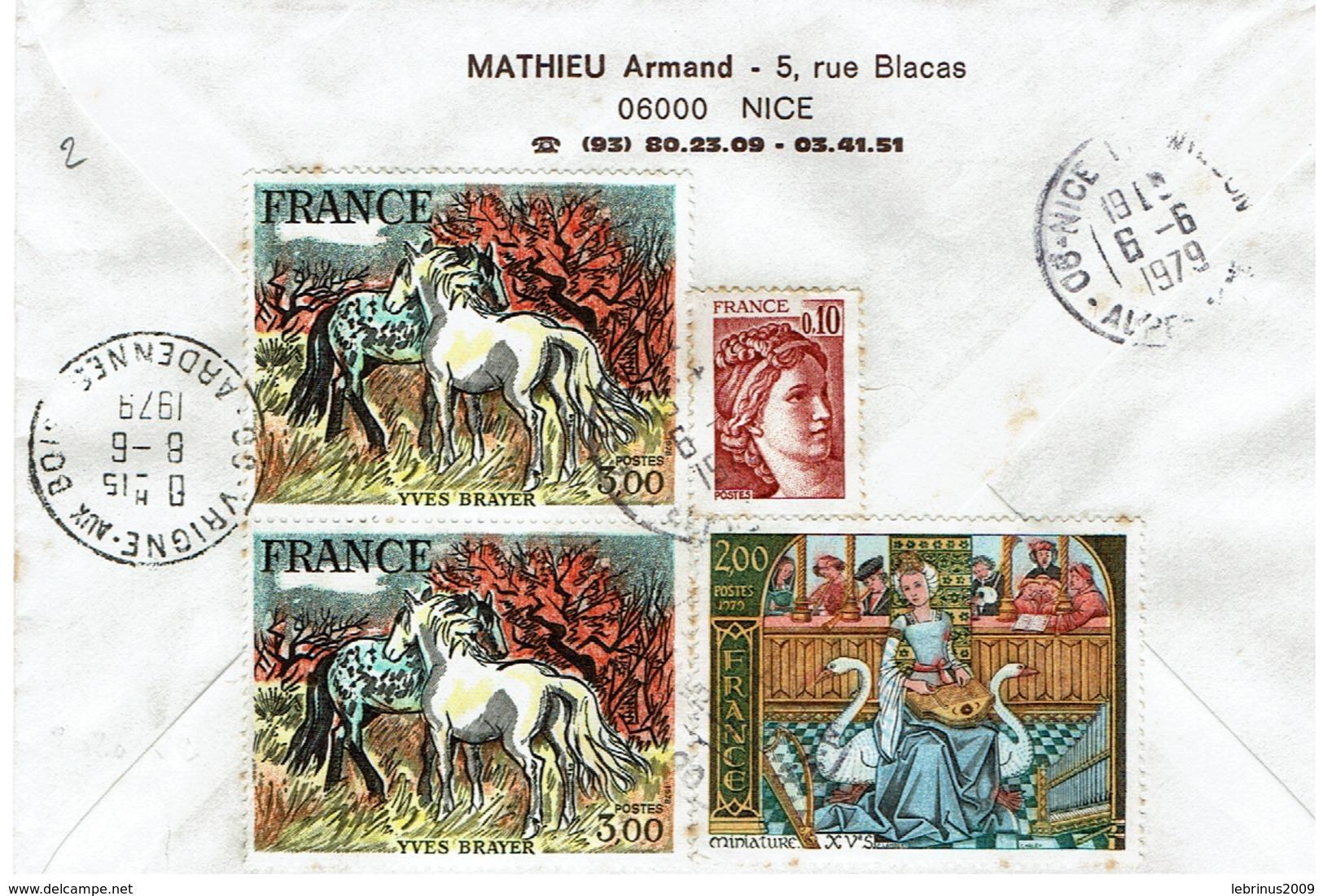 N°2026x2 - 1965 - 2033 ' Sur Lettre Recommandée De NICE Pour VRIGNE -AUX - BOIS Du 8/6/79 - Marcophilie (Lettres)