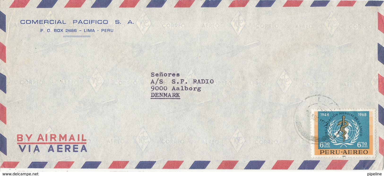 Peru Air Mail Cover Sent To Denmark 1971 With MAP Stamp - Peru