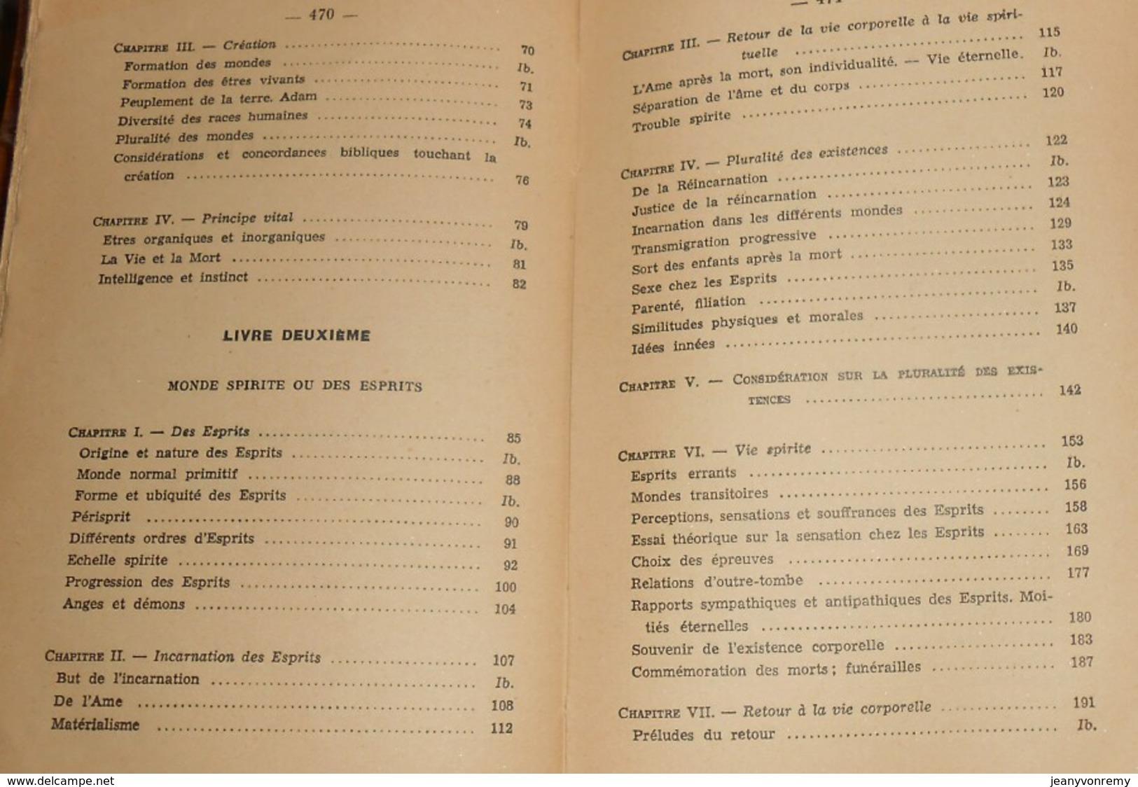 Le Livre Des Esprits. Allan Kardec. 1956. - Esotérisme