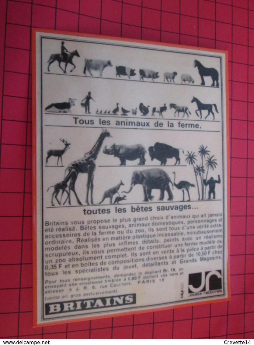 Page De Revue Des Années 60/70 : PUBLICITE  FIGURINES BRITAINS : FERME ET ZOO  Dimensions : Voir Quadrillage 1x1cm - Figurines
