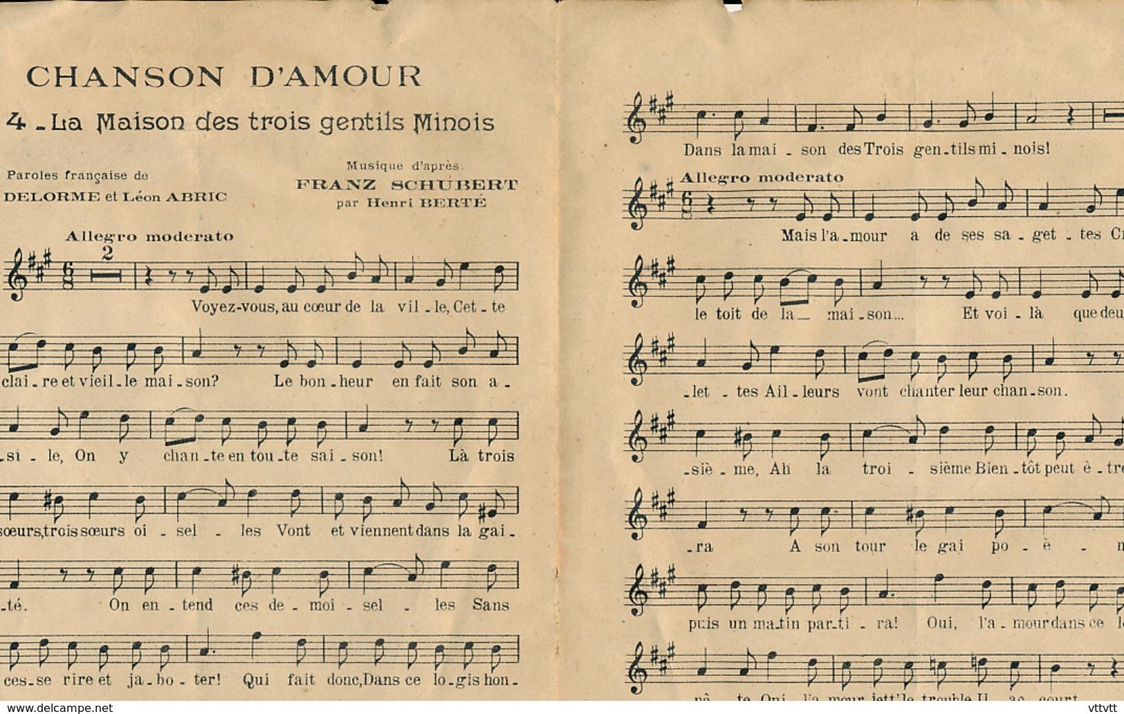 """PARTITION (1916) : OPERETTE """"CHANSON D'AMOUR"""", FRANZ SCHUBERT, """"LA MAISON DES TROIS JEUNES FILLES"""", THEATRE MARIGNY... - Opéra"""