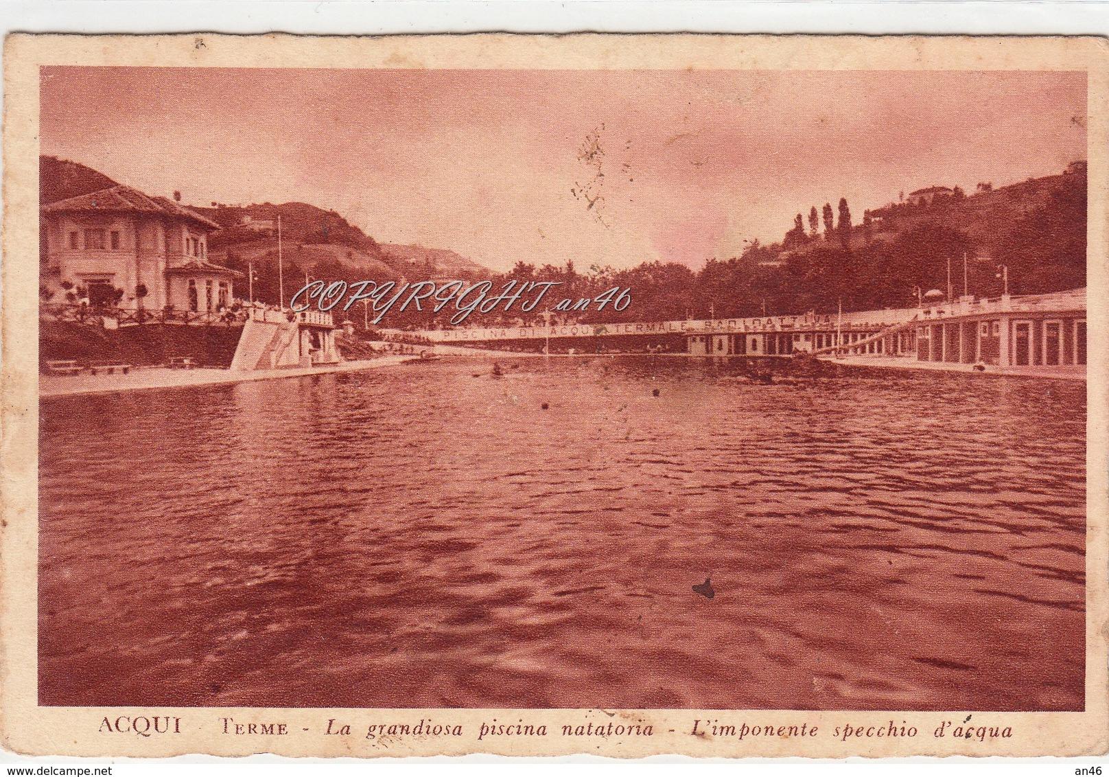 """Acqui_Terme_La Grandiosa Piscina Natatoria-Timbro: """"Albergo Pace""""-Vg 1935-Integra E Originale 100%an1 - Alessandria"""