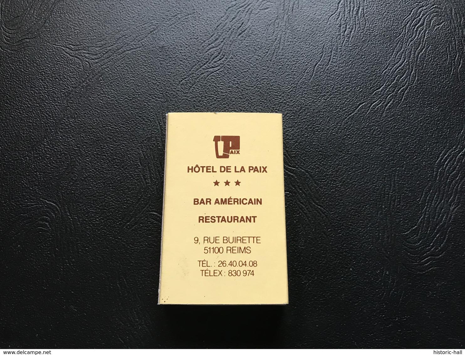 Boite D'allumettes HOTEL DE  LA PAIX ***  REIMS - Boites D'allumettes - Etiquettes