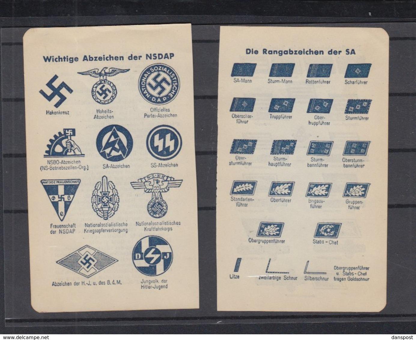 Drittes Reich Lot Rangabzeichen Der NSDAP Und Der SA Dienstgradabzeichen Im Arbeitsdienst 2 Stück - Historische Dokumente