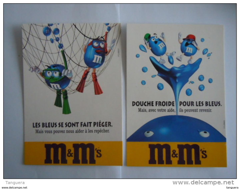 M&M's Les Bleus 2 Cartes Chocolade Chocolat Reclame Boomerang 1997 - Werbepostkarten