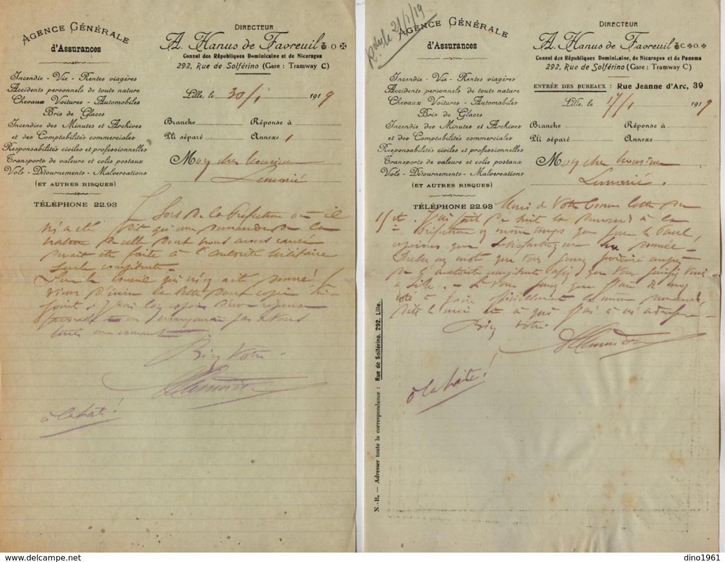 VP13.188 - 1919 - 2 Lettres De Mr A. HANUS De FAVREUIL Consul De NICARAGUA Et De PANAMA à LILLE - Banque & Assurance