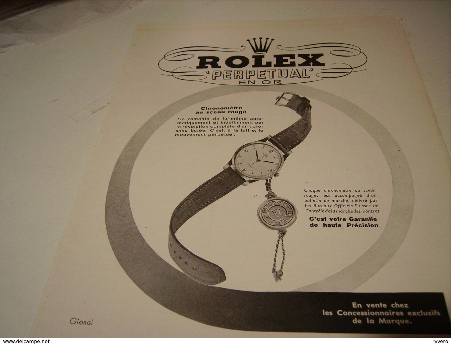 PUBLICITE AFFICHE MONTRE PERPETUAL EN OR DE ROLEX 1950 - Bijoux & Horlogerie