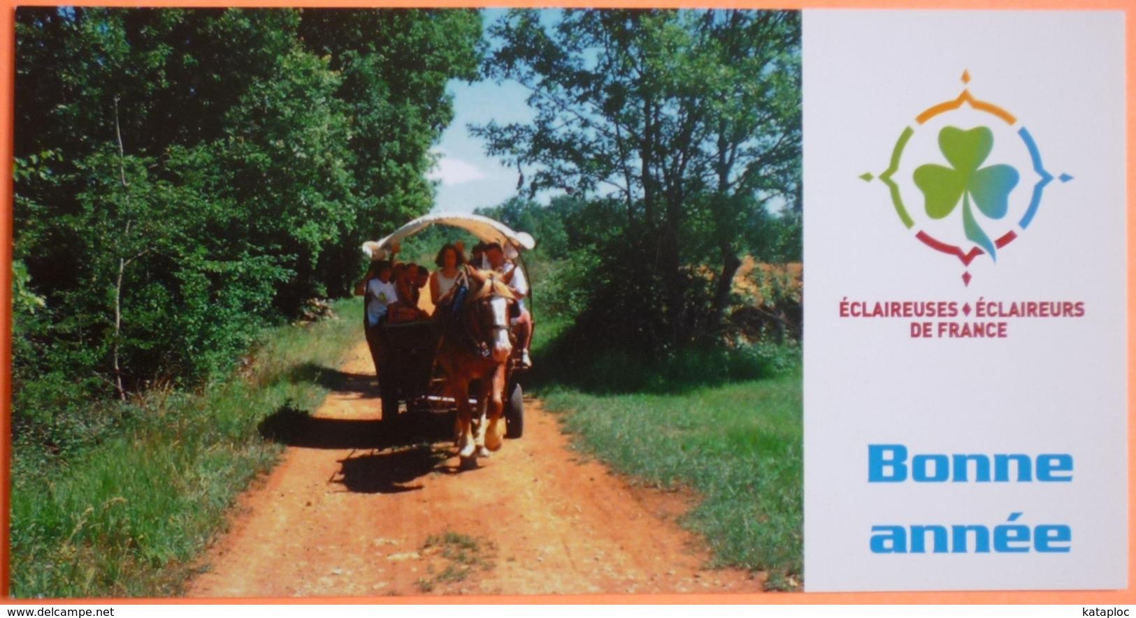 CARTE ECLAIREUSES ECLAIREURS DE FRANCE - BONNE ANNEE - SCOUTISME - CALECHE - 6 - Scoutisme