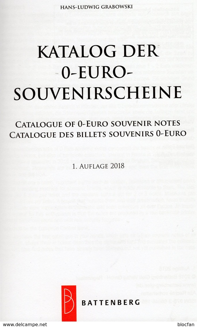 Grabowski-Katalog 0-EURO-Souvenir-Scheine 2018 New 20€ Papiergeld 1.Auflage Money Souvenirnoten Deutsch/english/frz - English