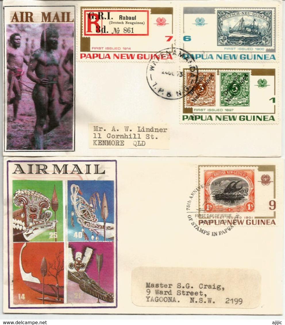 Deutsch-Neu-Guinea Stamps 1897-1914, Série Sur Deux FDC's Année 1973 - Papouasie-Nouvelle-Guinée
