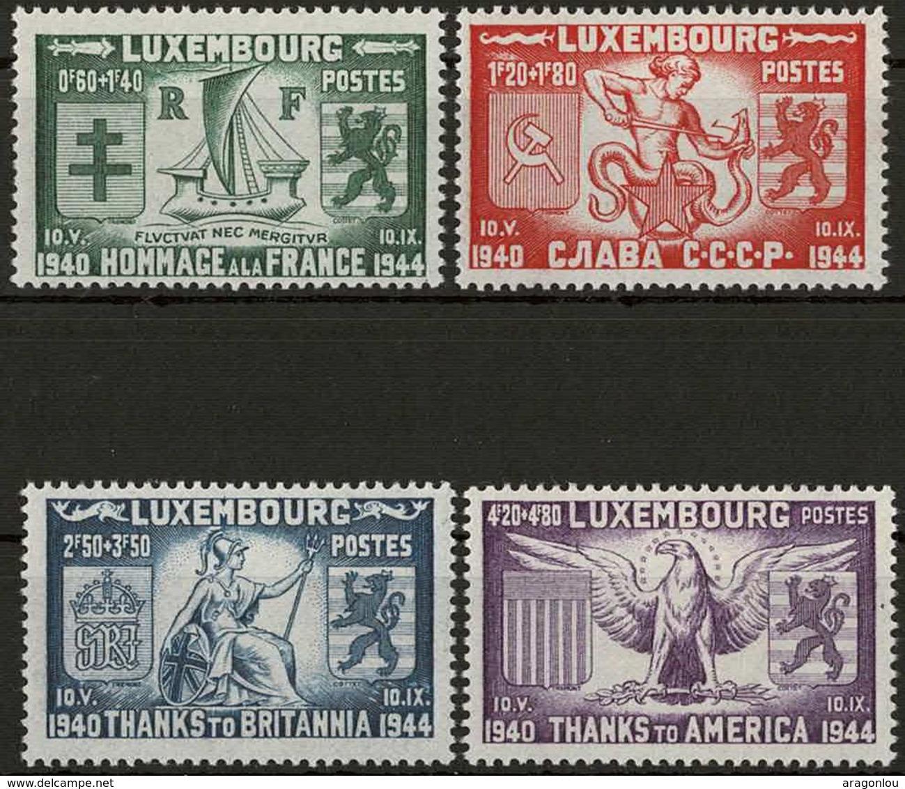 1945 Libération, Série 4 Timbres, Neuf Avec Charnière: Michel: 343-346 (2scans) - Luxembourg