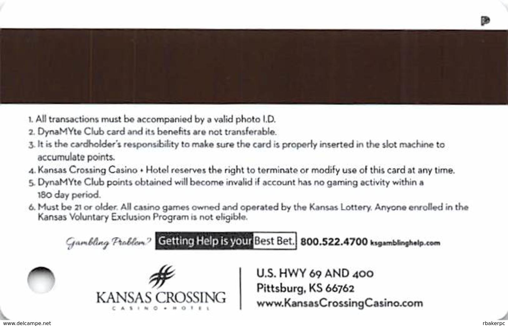 Kansas Crossing Casino - Pittsburg, KS USA - Slot Card With PG Logo Over Mag Stripe - Casino Cards
