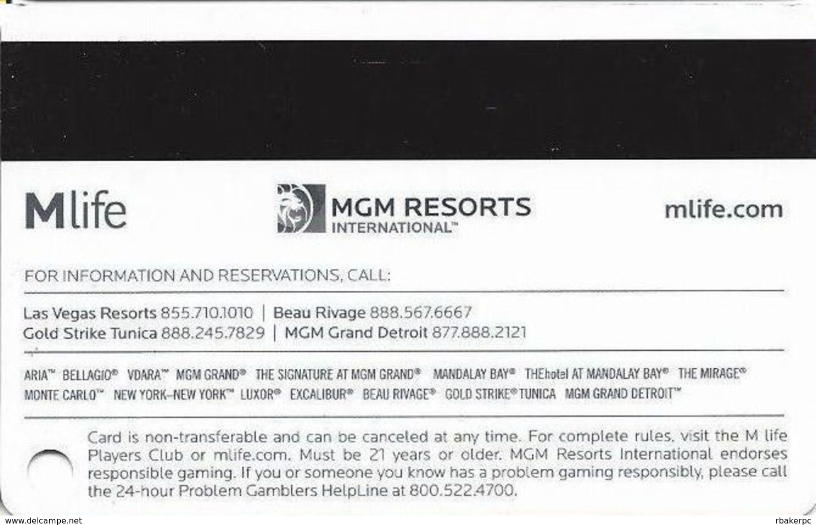 MGM Casinos - Multiple Locations - Pearl Slot Card With No Text Over Mag Stripe & Bottom Text Indented - Casino Cards