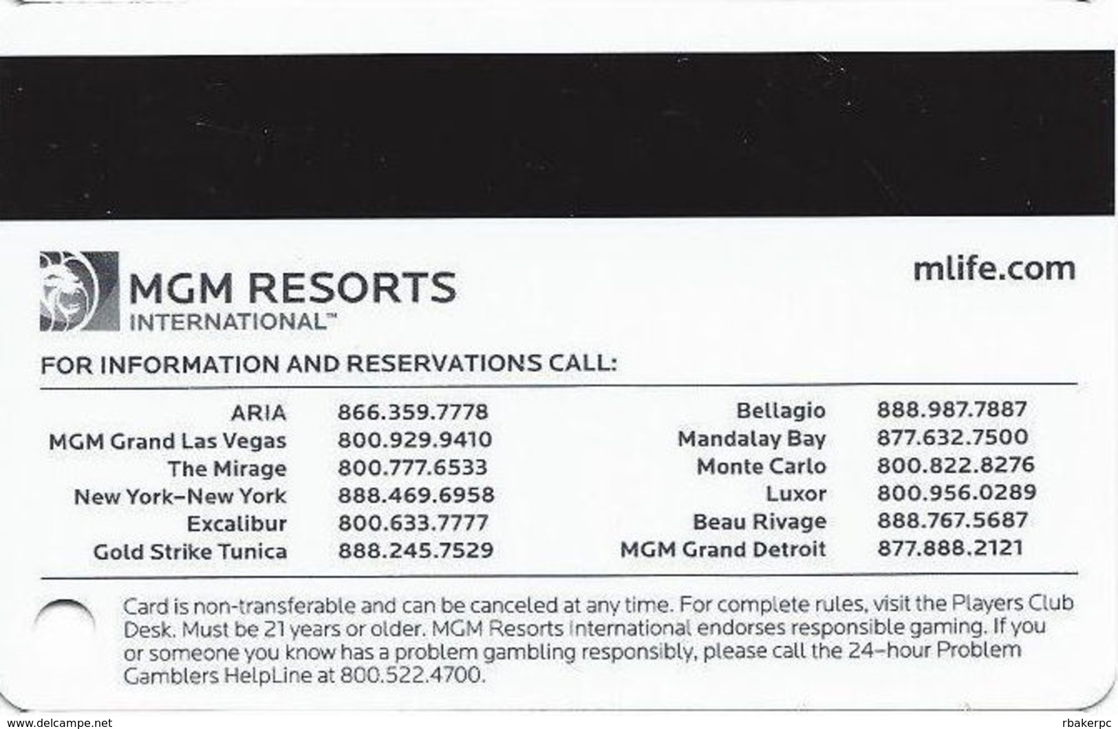MGM Casinos - Multiple Locations - MLife Players Club Sapphire Slot Card - Casino Cards