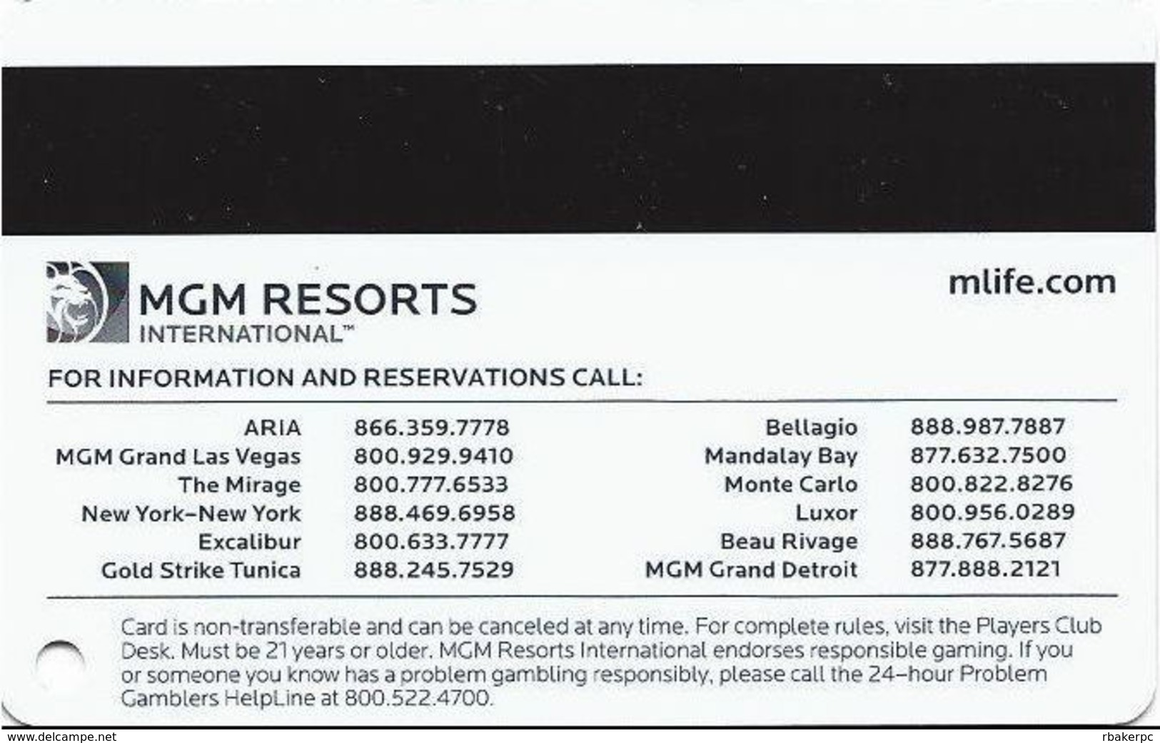 MGM Casinos - Multiple Locations - Gold MLife Slot Card With No Text Over Mag Stripe & Bottom Text Indented - Casino Cards