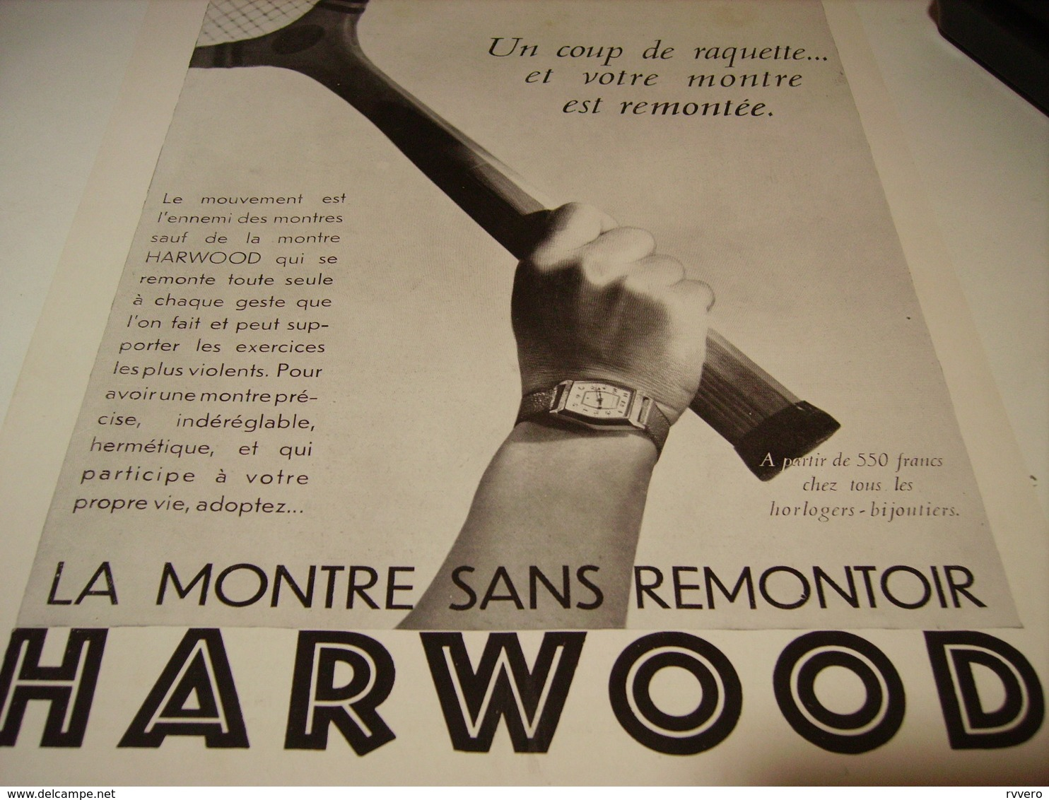 ANCIENNE PUBLICITE MONTRE HARWOOD SANS REMONTOIR 1930 - Autres