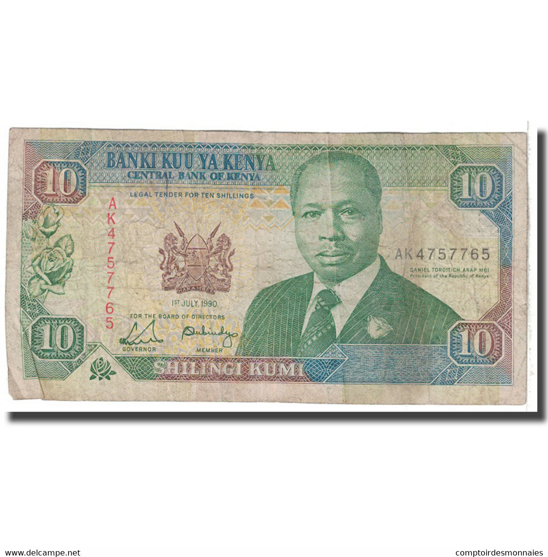 Billet, Kenya, 10 Shillings, 1990, 1990-07-01, KM:24b, B - Kenya