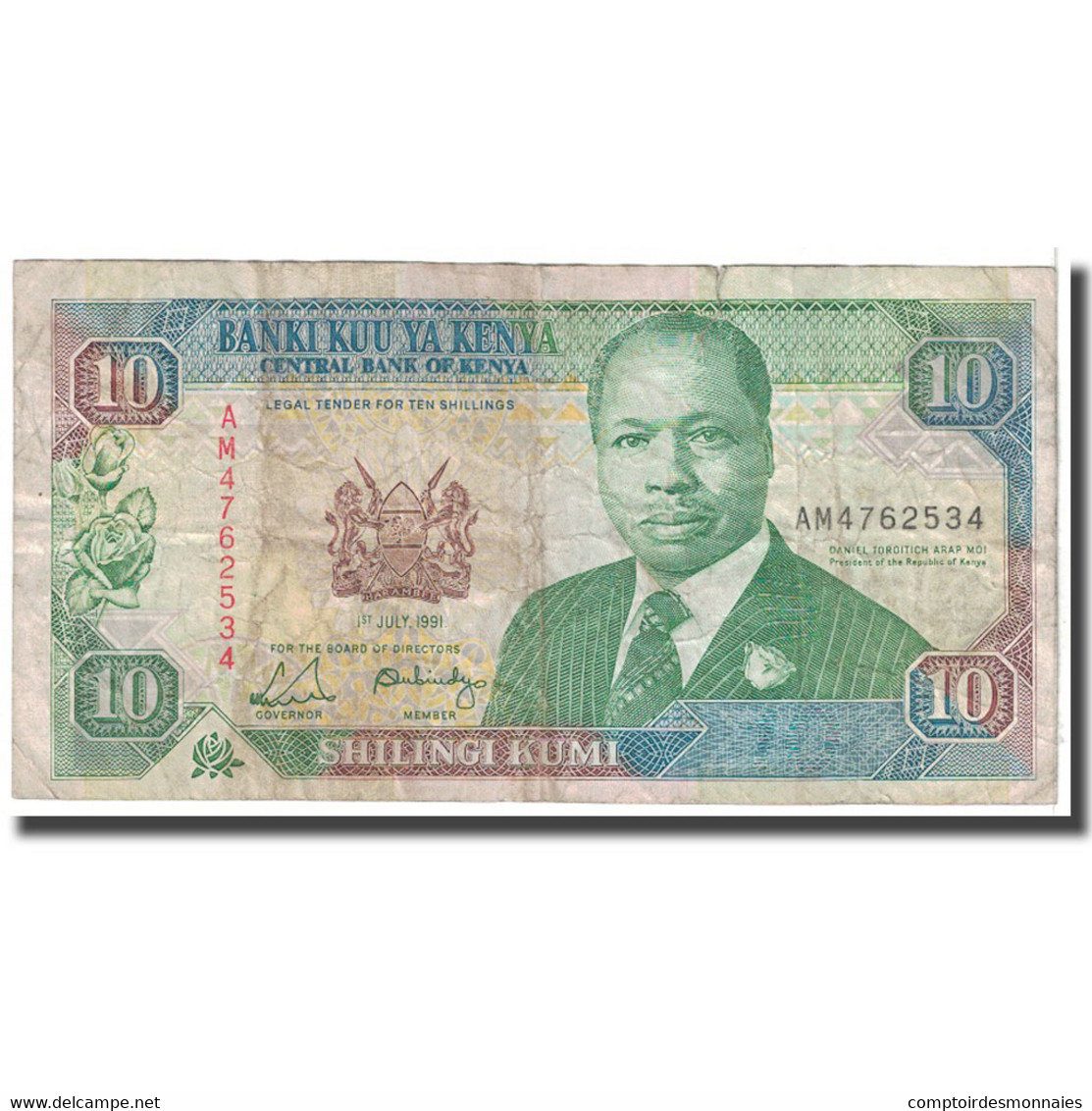 Billet, Kenya, 10 Shillings, 1991, KM:24c, B - Kenya