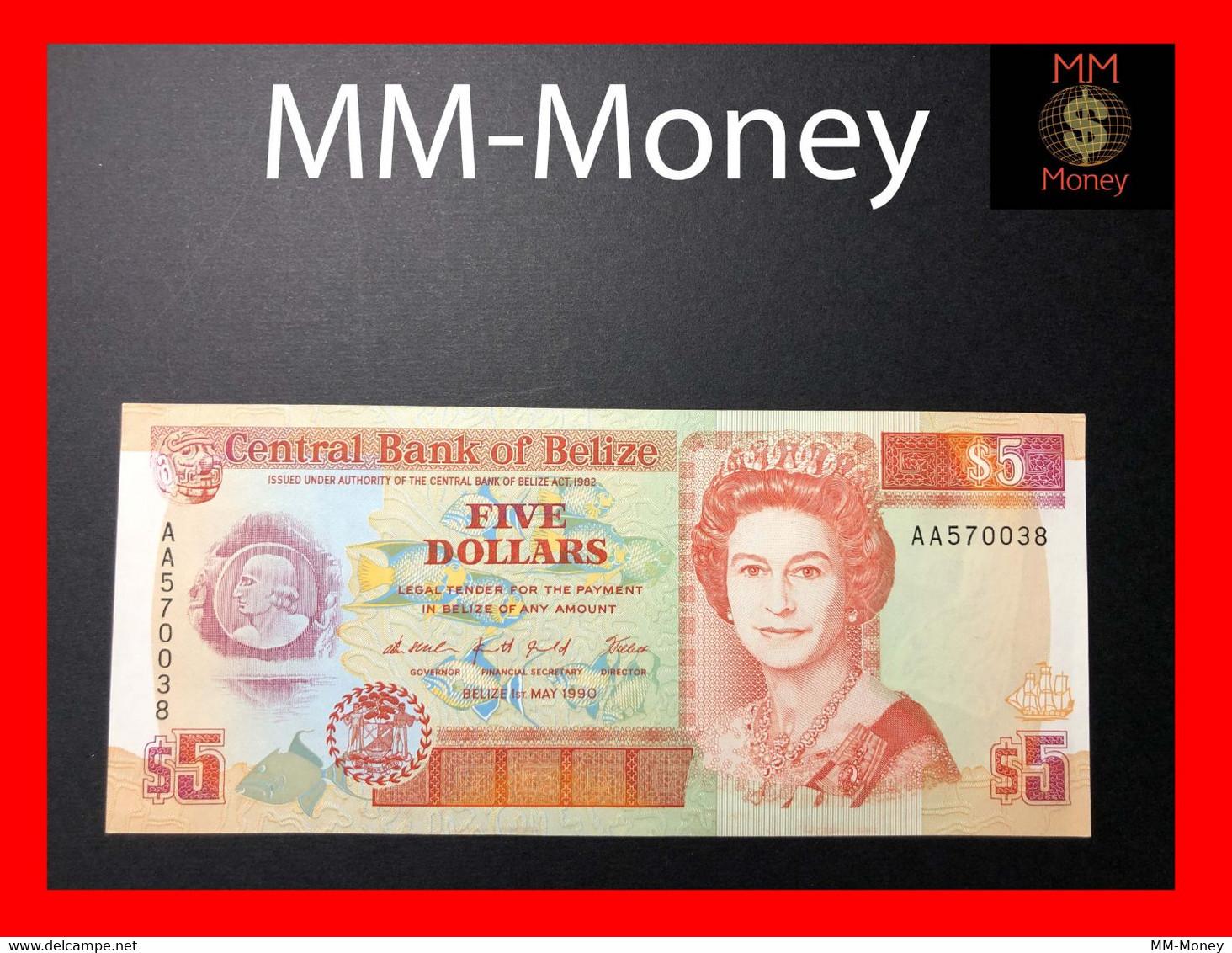 BELIZE 5 $  1.5.1990  P. 53  UNC - Belize