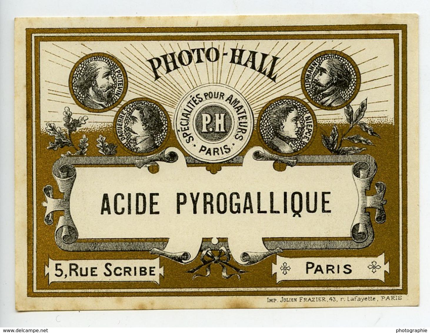 France Etiquette Acide Pyrogallique Produits Photographique Photo Hall 1880 - Old Paper