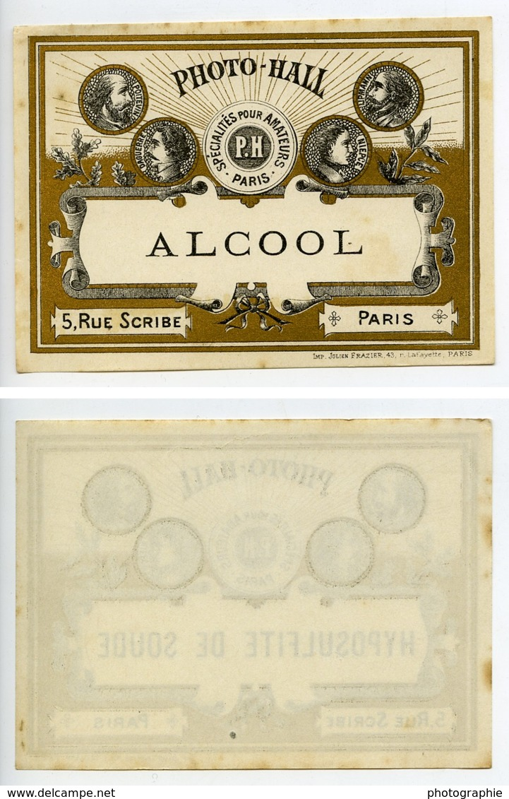 France Etiquette Alcool Produits Photographique Photo Hall 1880 - Old Paper