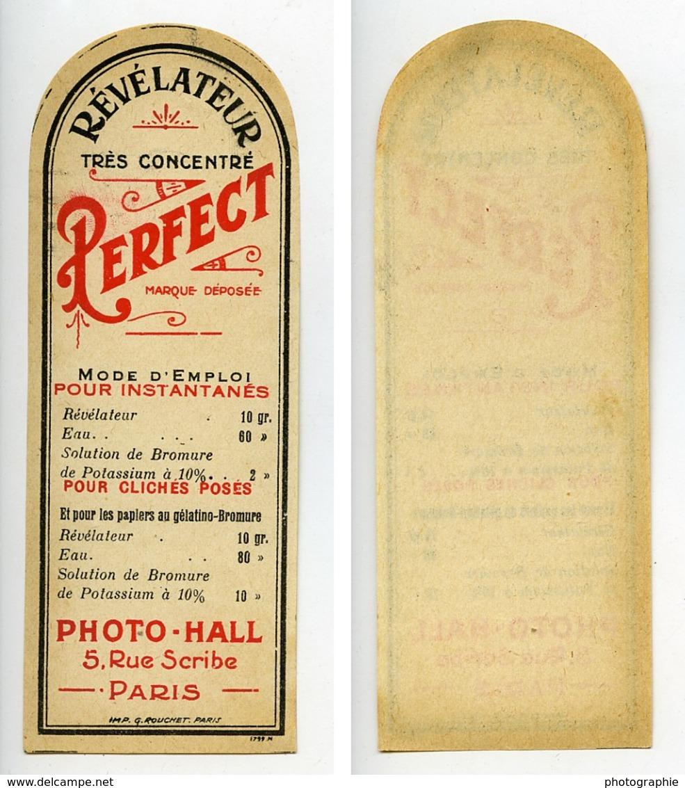 France Etiquette Revelateur Perfect Produits Photographique Photo Hall 1880 - Old Paper