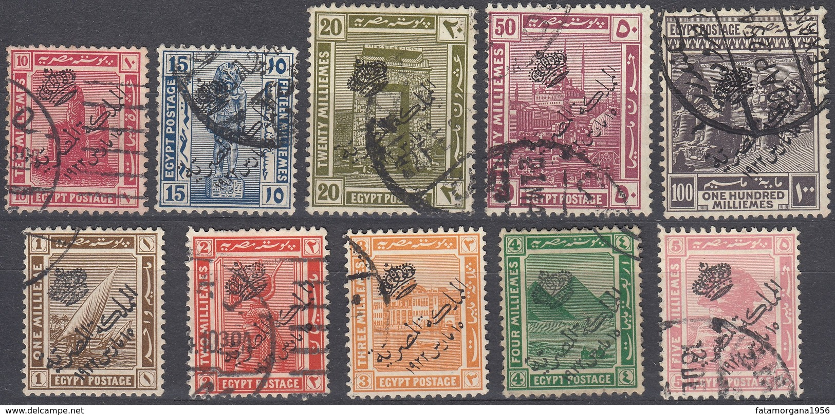 EGITTO - 1922 - Lotto Di 10 Valori Obliterati: Yvert 69/74, 76/78 E 80. - Ägypten